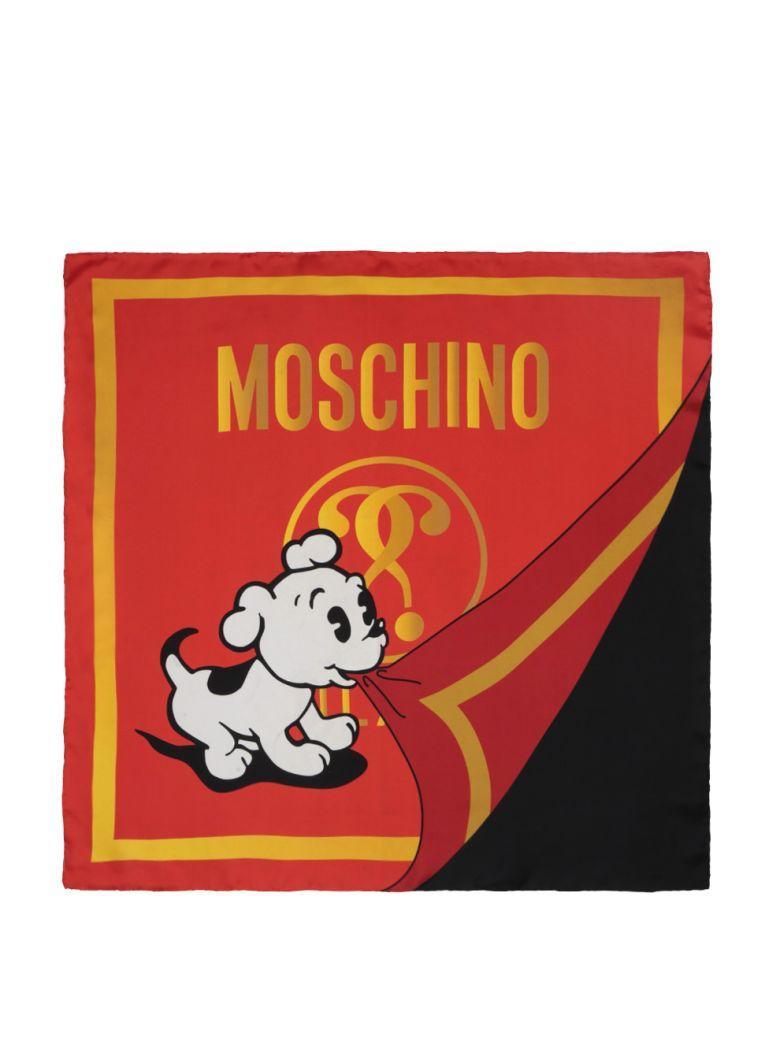 Moschino Silk Foulard In Rosso