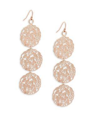 Stella & Ruby Triple Drop Earrings In Rose Gold
