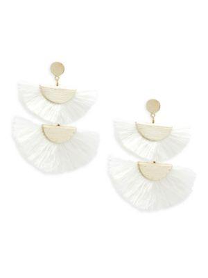 Panacea Fan Drop Earrings In White