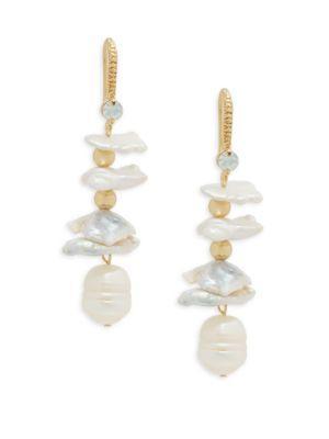 Jardin Faux Pearl And White Opal Drop Earrings In Gold