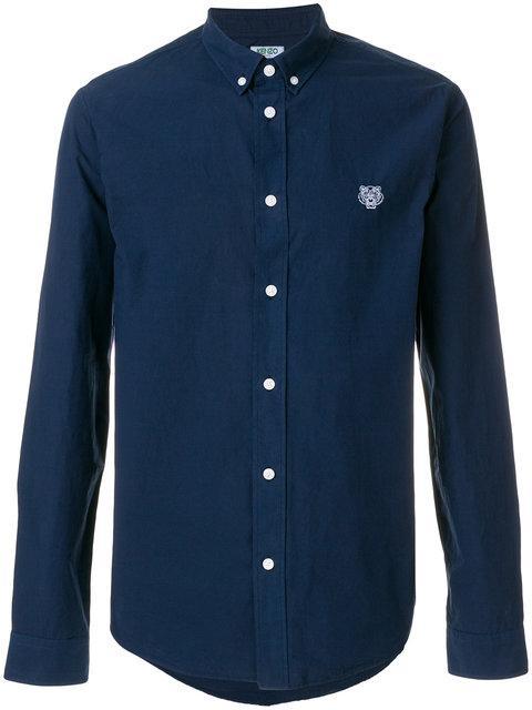 Kenzo Mini Tiger Button Down Shirt - Blue