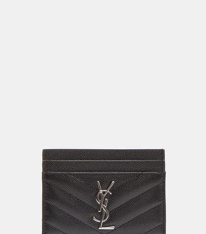 Saint Laurent Monogram Grain De Poudre MatelassÉ Card Case In Black