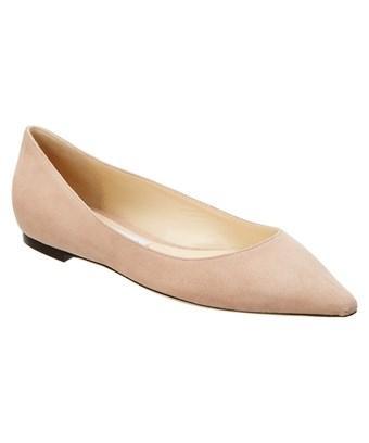 Jimmy Choo Romy Suede Pointy-toe Flat In Pink