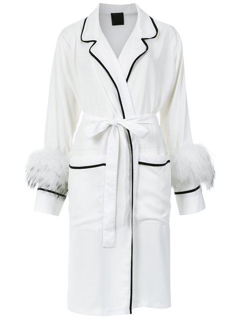 Andrea Bogosian Feather Trimming Robe - White