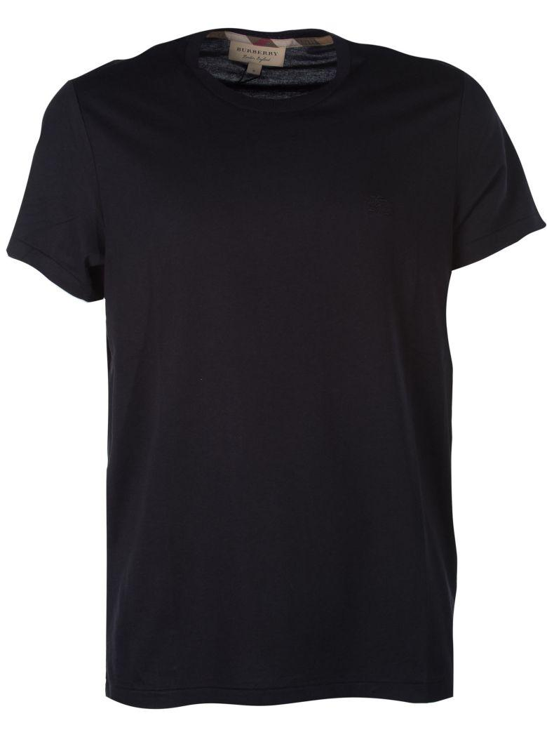 Burberry Logo Embroidered T-shirt In Black