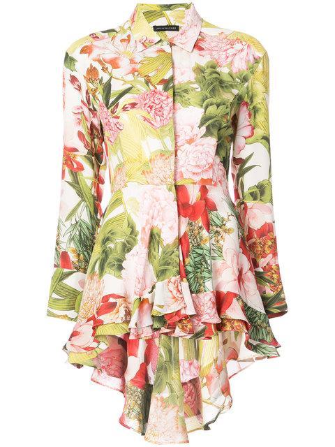 Josie Natori Paradise Floral High Low Shirt In Multicolour