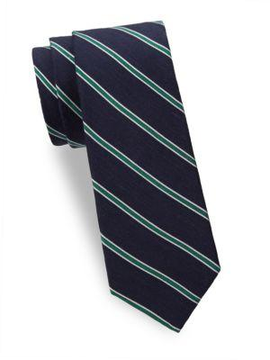 Theory Striped Silk Tie In Eclipse