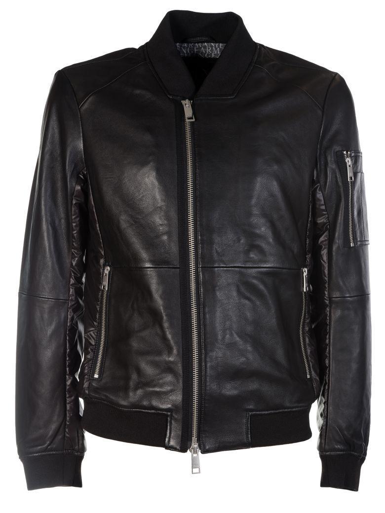 Armani Collezioni Zipped Biker Jacket In Black