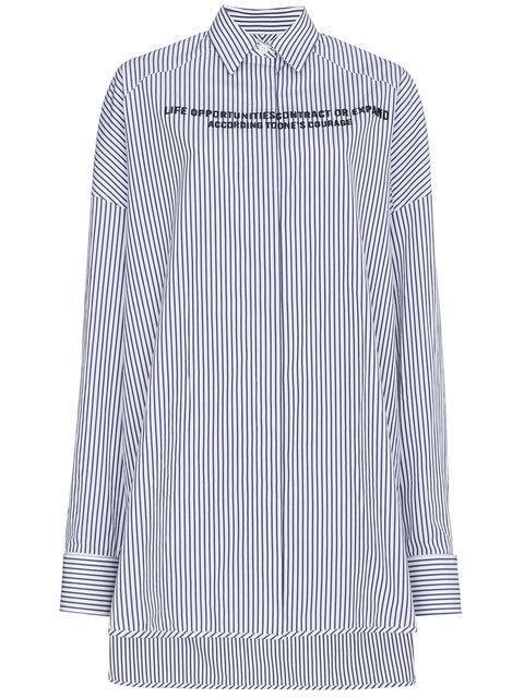 Juun.j Oversized Stripe Slogan Shirt In Blue