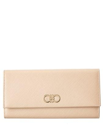 Salvatore Ferragamo Double Gancini Leather Continental Wallet In Beige
