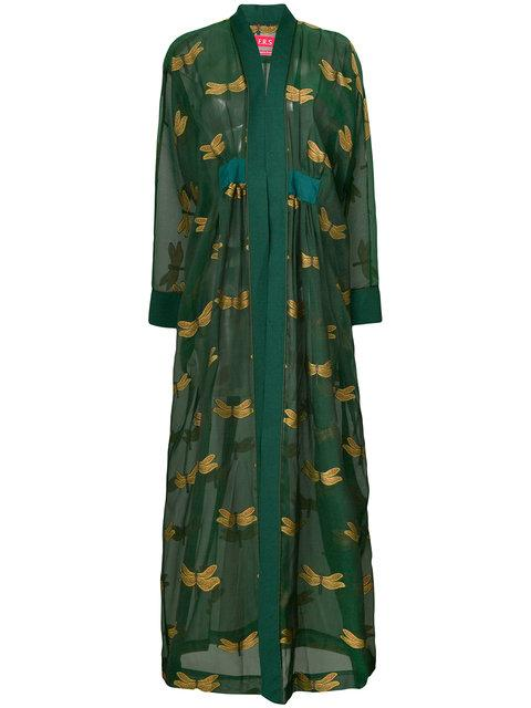 F.r.s For Restless Sleepers Embroidered Long-sleeve Robe - Green