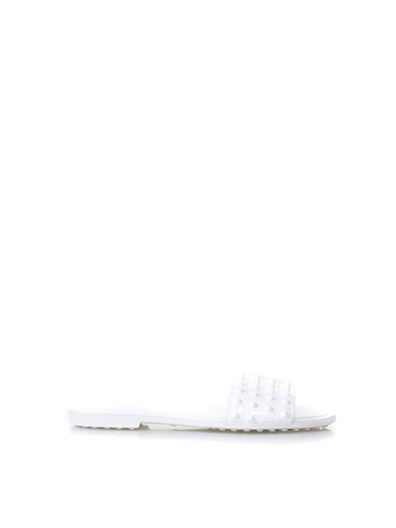 Tod's White Rubber Studs Slipper In Leather