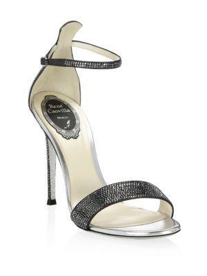RenÉ Caovilla Celebrita Crystal-embellished Satin & Leather Sandals In Dark Grey