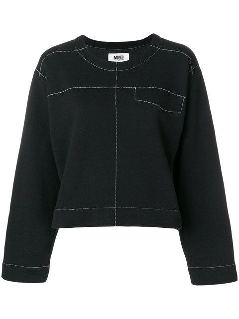 Mm6 Maison Margiela Exposed Stitch Sweatshirt In 900black