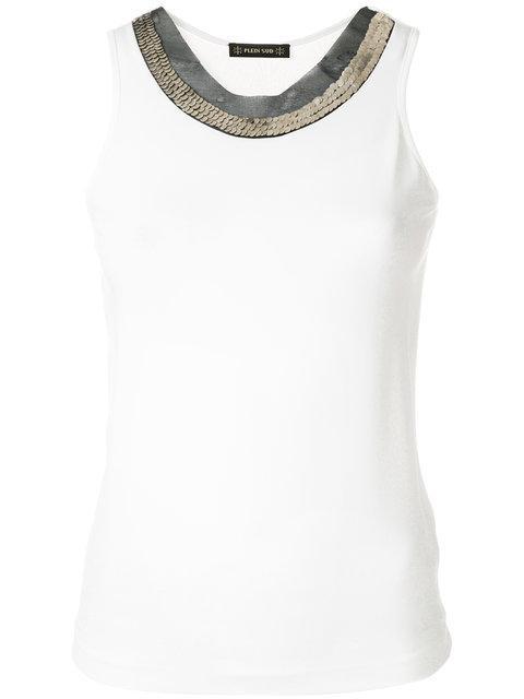 Plein Sud Embellished Neckline Tank Top - White