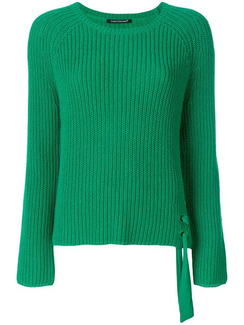 Luisa Cerano Ribbed Knit Tie Detail Sweater