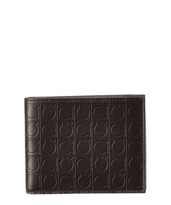 Salvatore Ferragamo Gancio Embossed Leather Trifold Wallet In Brown