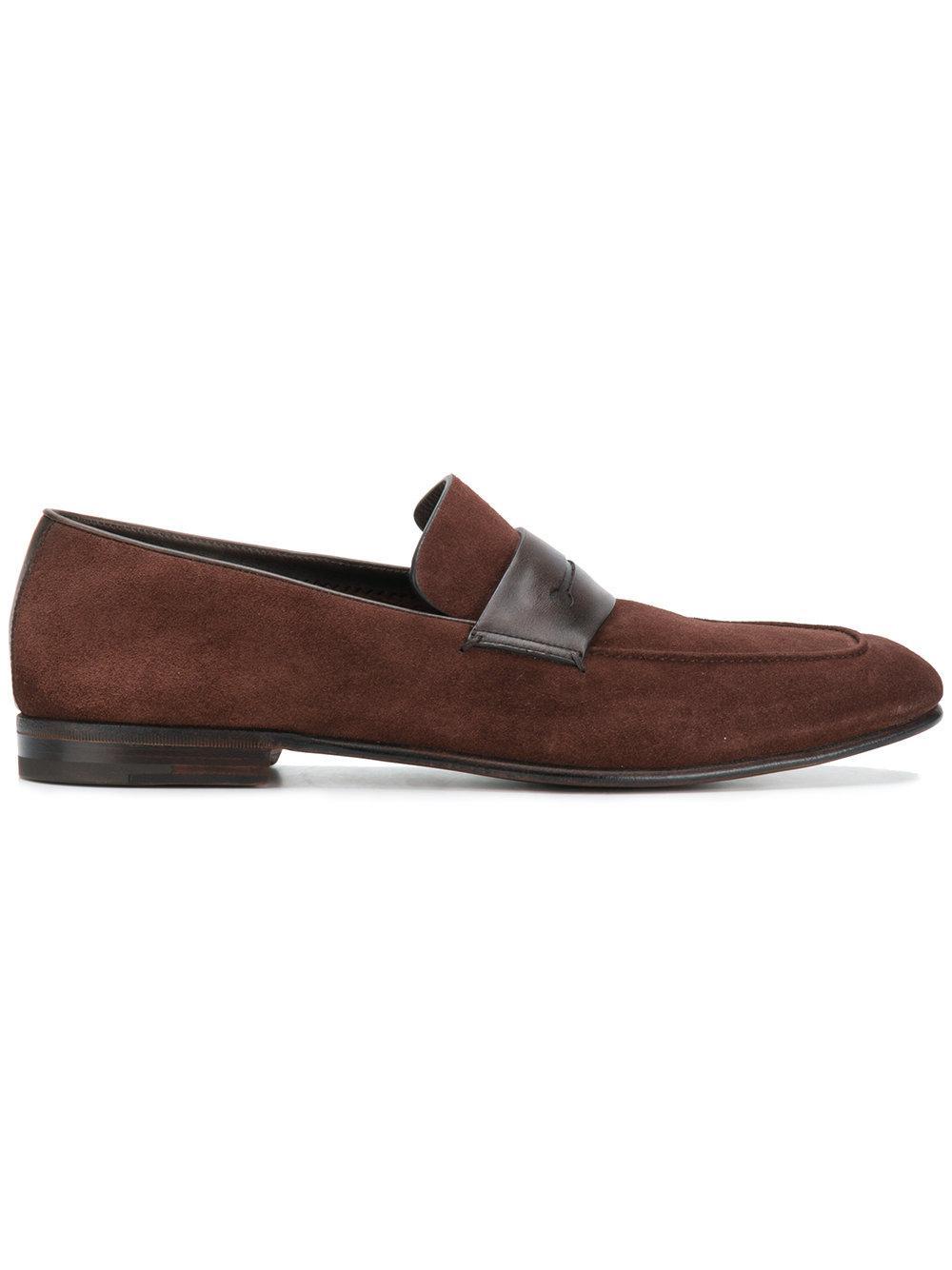 Ermenegildo Zegna Contrast Strap Loafers - Brown