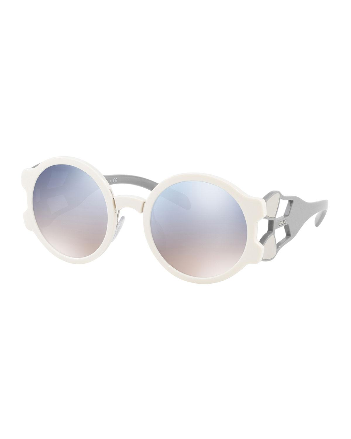 58d18f850e9a Prada Round Mirrored Sunglasses With Cutout Temples In Black | ModeSens