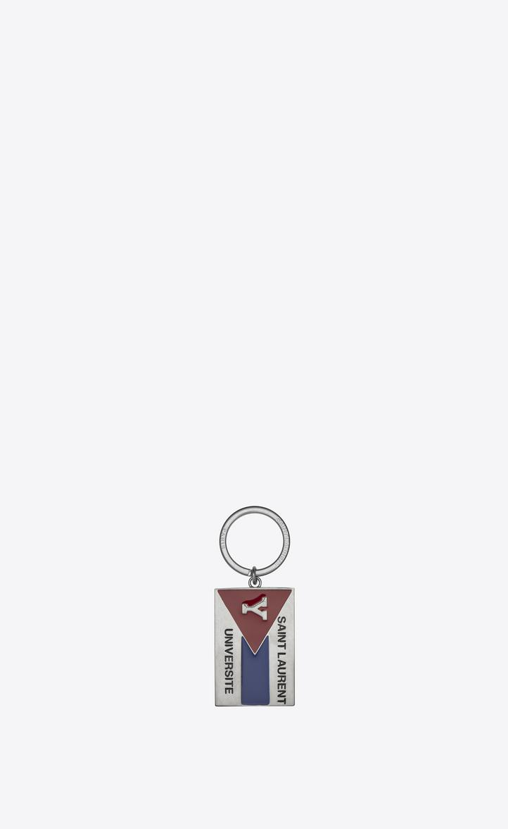 """Saint Laurent """" Université"""" Key Ring In Silver-toned Metal And Black, Red And Blue Enamel"""