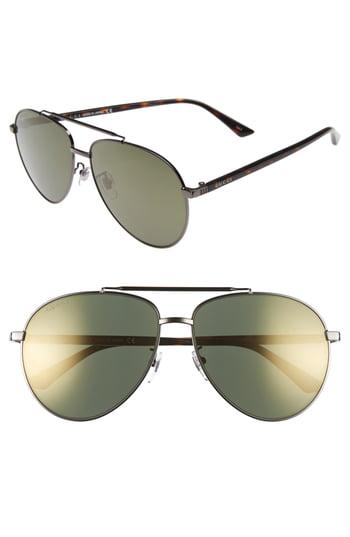 Gucci 61mm Aviator Sunglasses - Gold/ Ruthenium