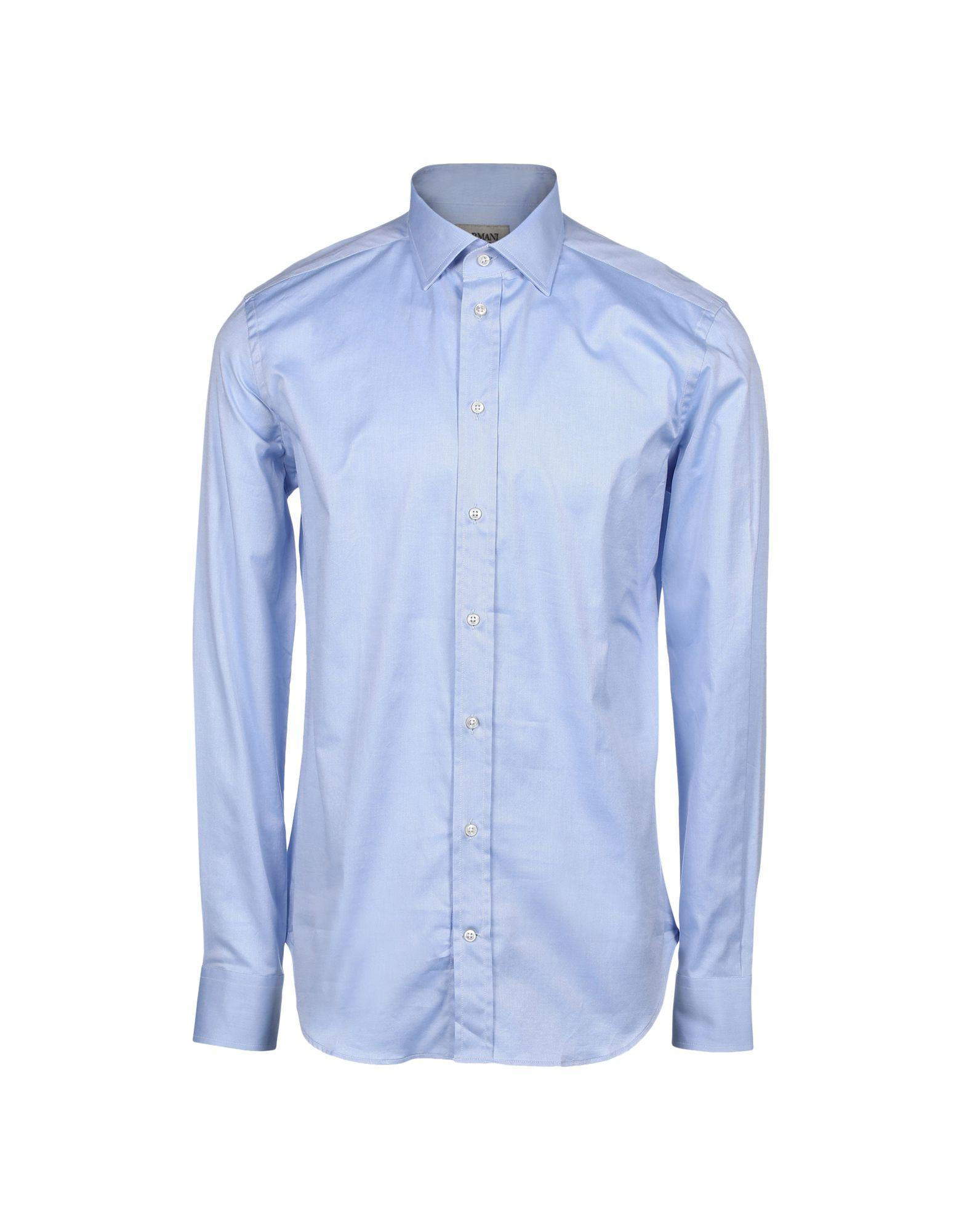 Armani Collezioni Solid Color Shirt In Pastel Blue