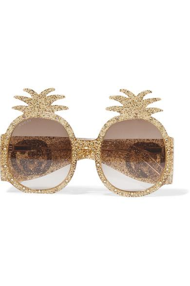 Gucci Round-frame Crystal-embellished Glittered Acetate Sunglasses In Gold