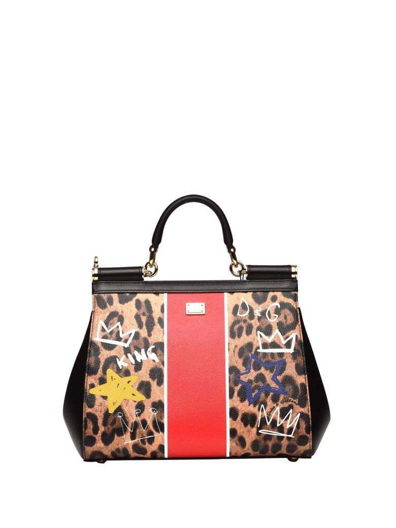 Dolce & Gabbana Dauphine Leather Handbag With Patch In Nero Maculato