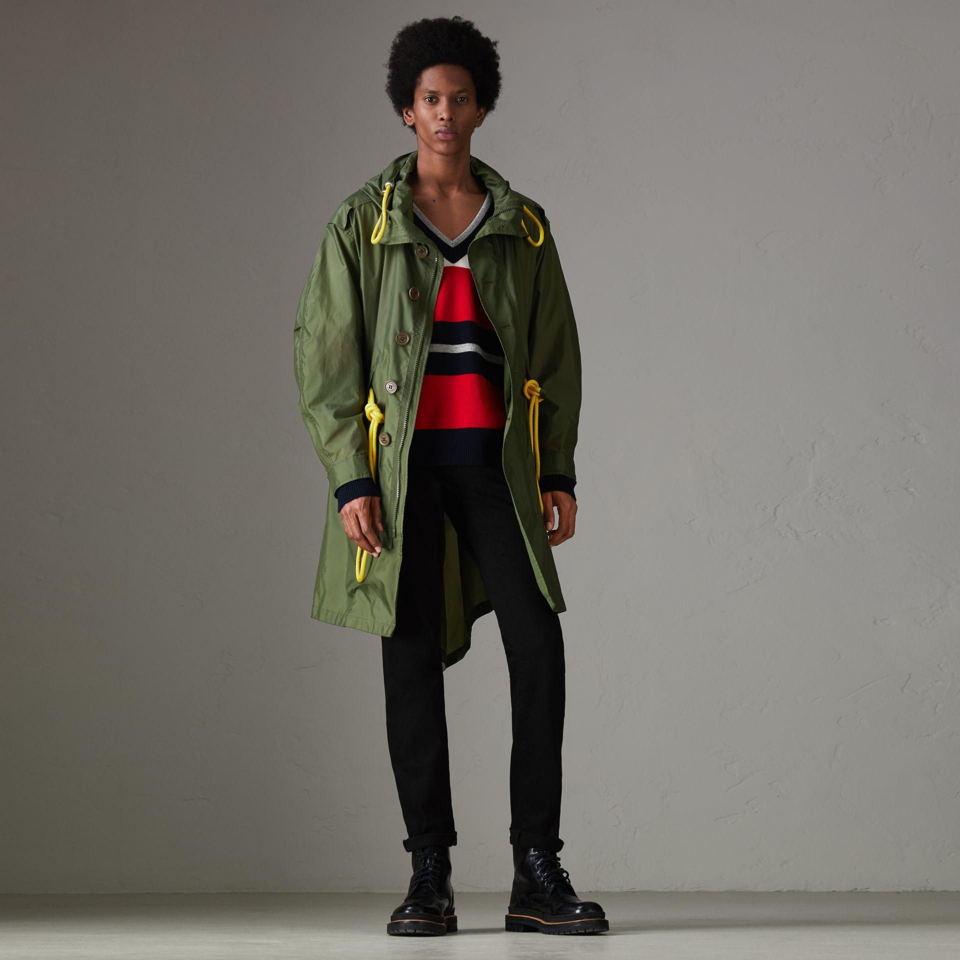 Burberry Oversized Technical Parka In Light Olive