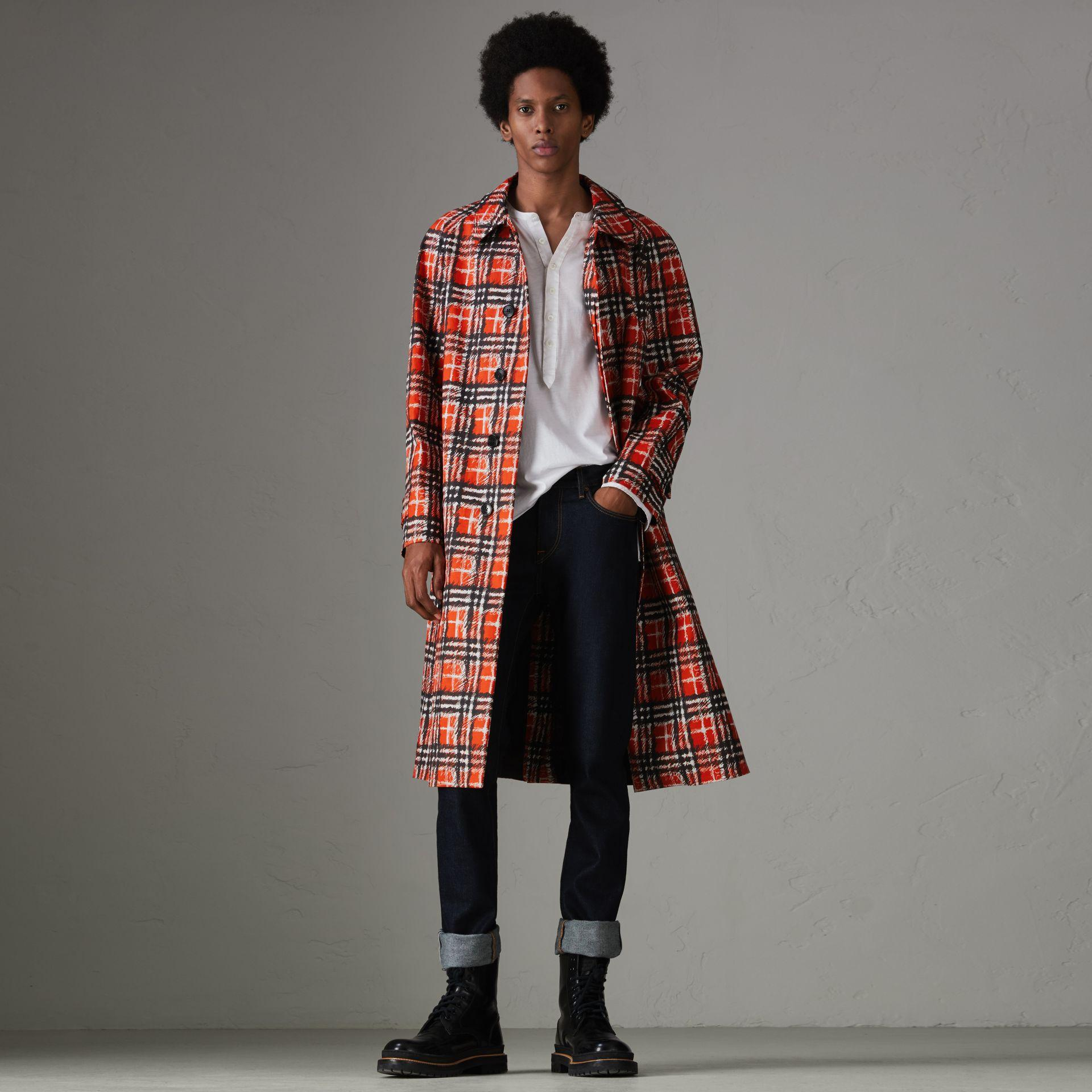 Burberry Scribble Check Cotton Car Coat In Bright Military Red