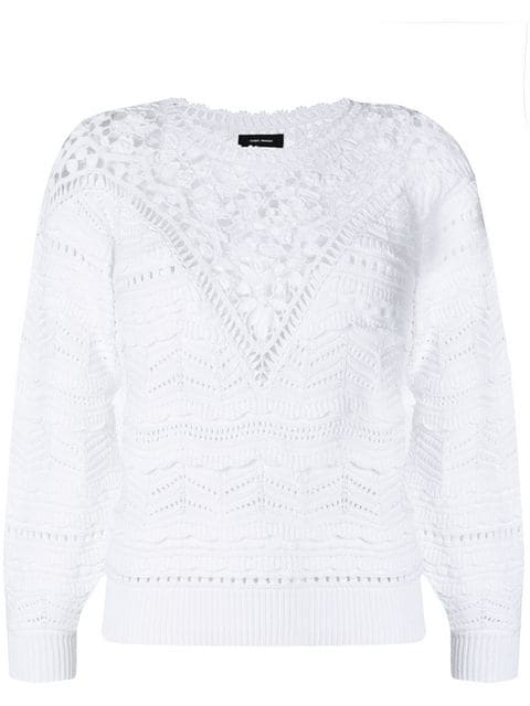 Isabel Marant Camden Crochet Jumper In White