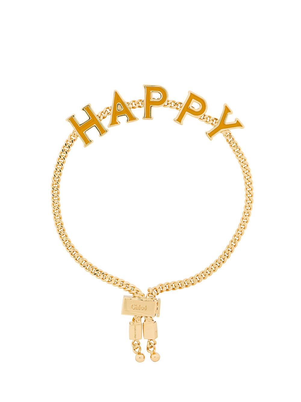 ChloÉ Messages Happy Bracelet In Metallic
