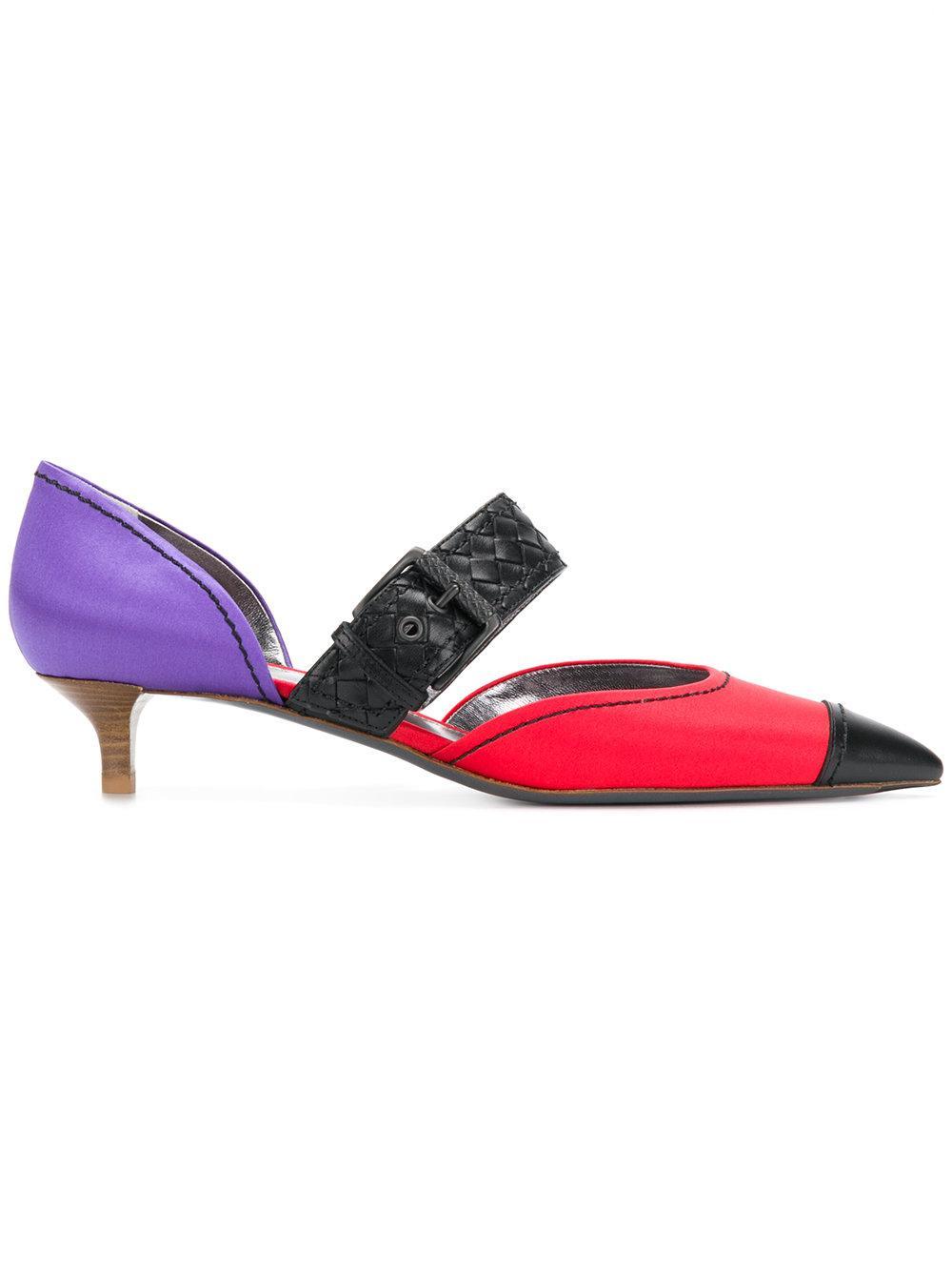 Bottega Veneta Woven Strap Kitten Heel Pumps - Multicolour