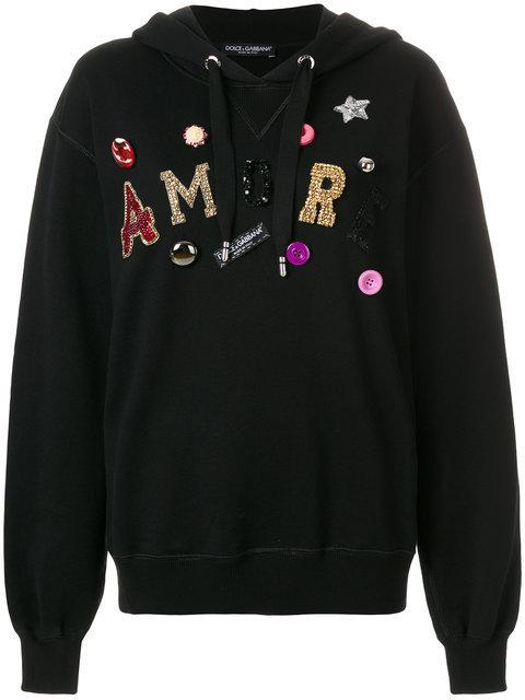 Dolce & Gabbana Black 'amore' Sequin & Jewel Hoodie