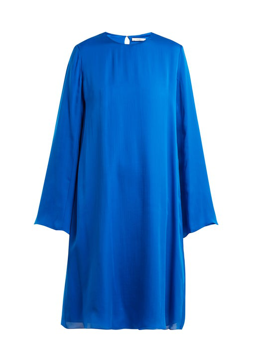The Row Bantoi Washed Silk-charmeuse Midi Dress In Blue