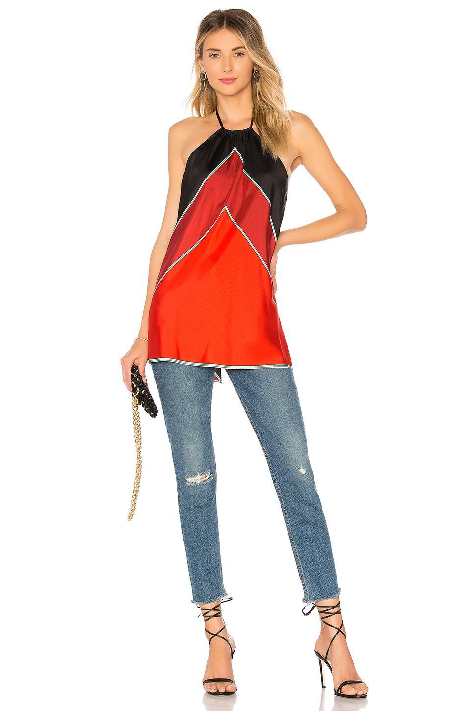 Diane Von Furstenberg Halter Neck Shell Top In Orange