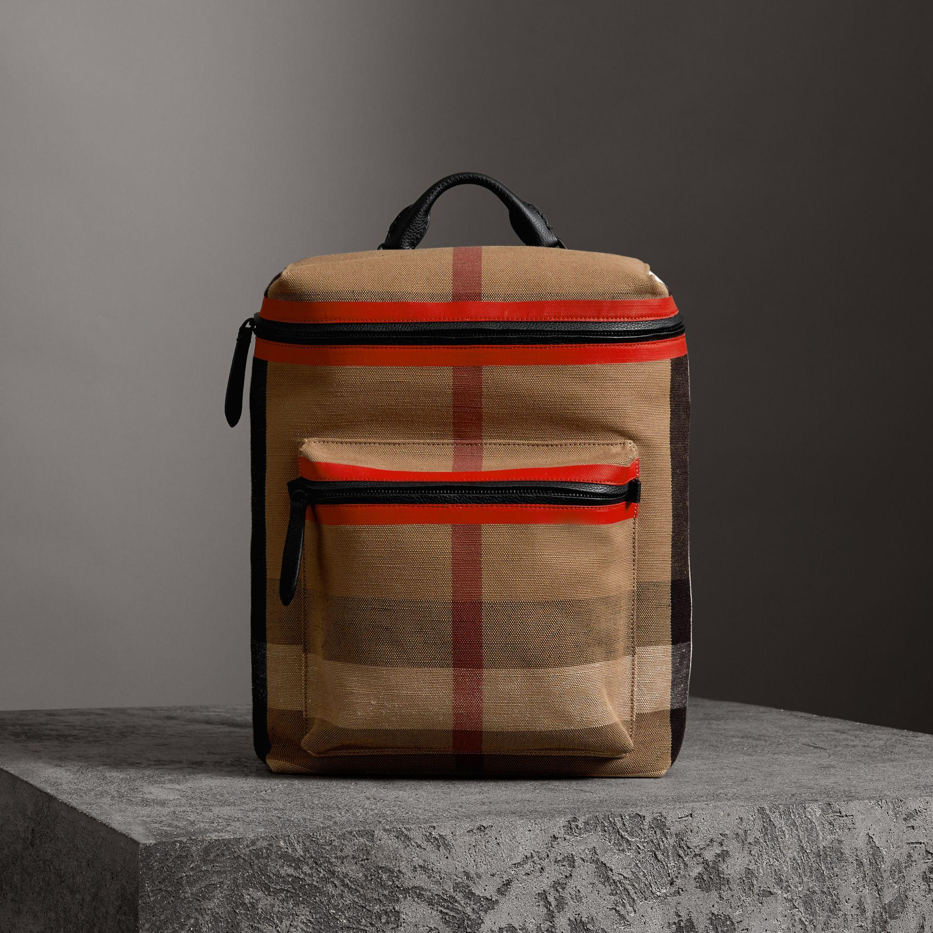 Burberry Zip-top Leather Trim Canvas Check Backpack In Military Red/camel