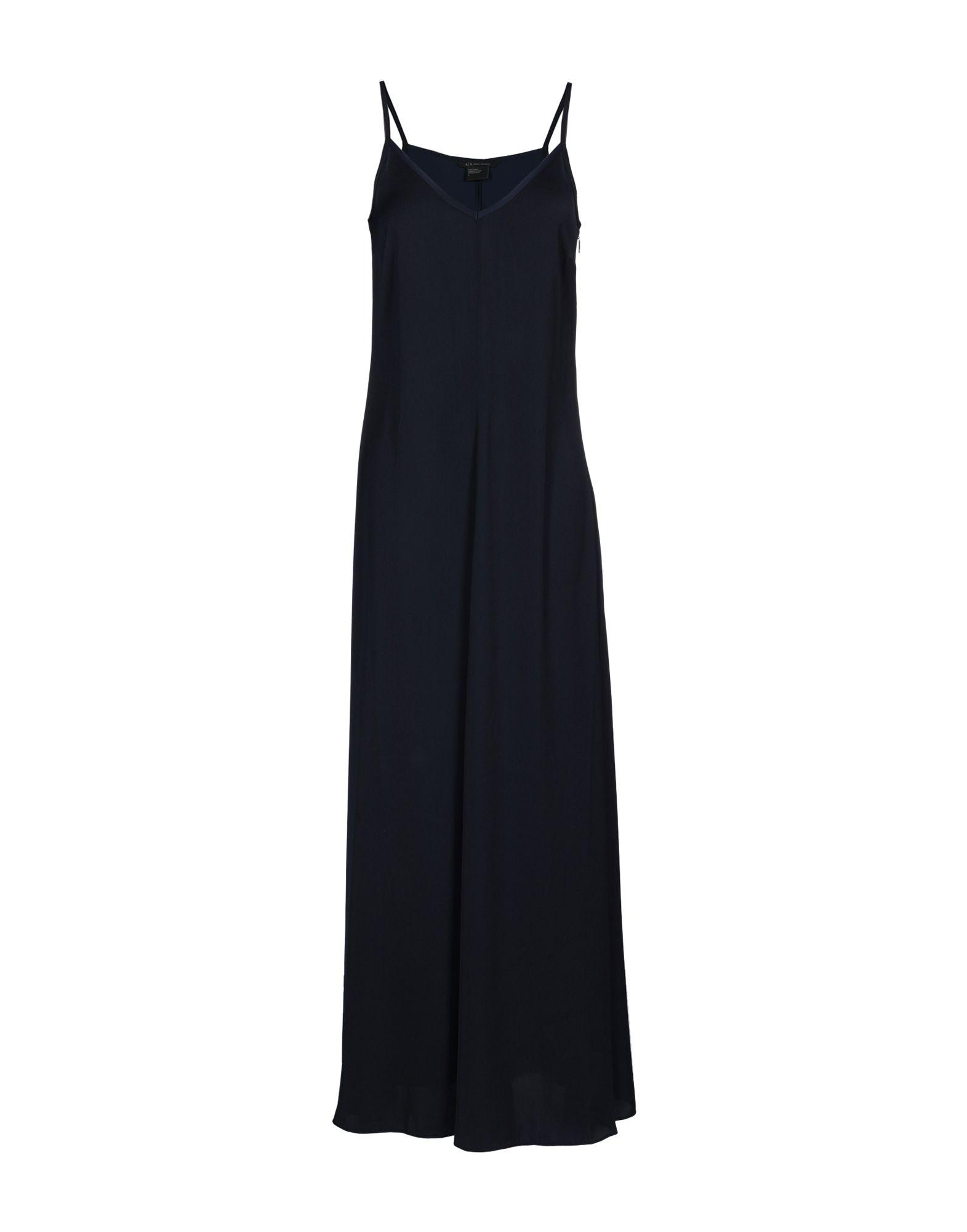 Armani Exchange Long Dress In Dark Blue