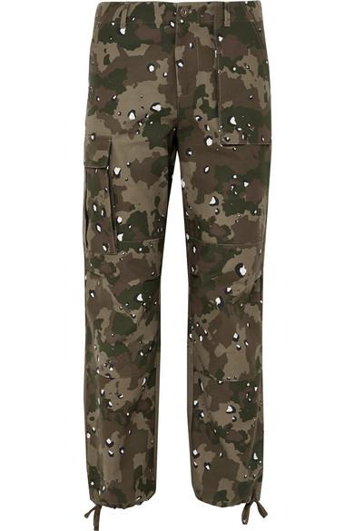 Kith Jada Camouflage-print Cotton-canvas Straight-leg Pants In Army Green