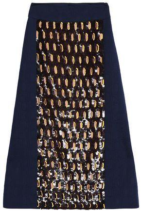 Marni Woman Sequin-embellished Jacquard Midi Skirt Navy