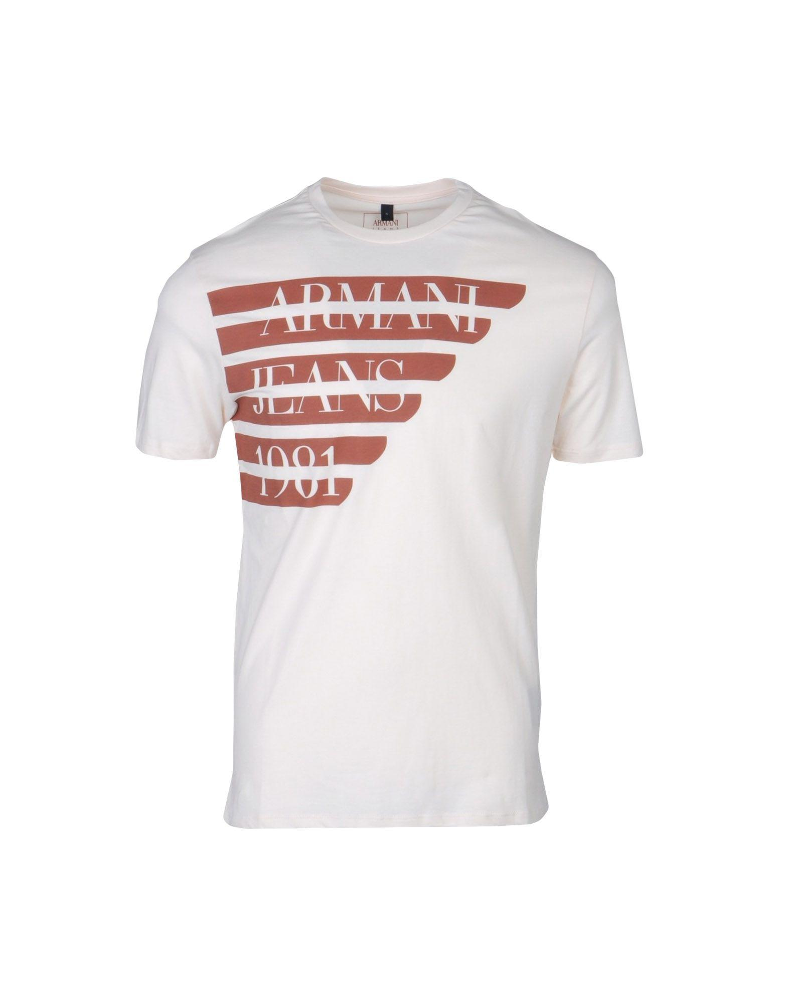 Armani Jeans T-shirts In Tan