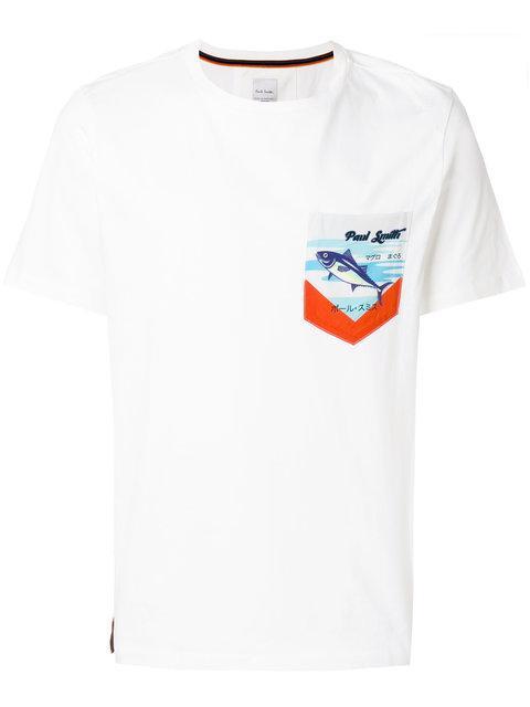 Paul Smith Tuna Print Pocket T-Shirt In White