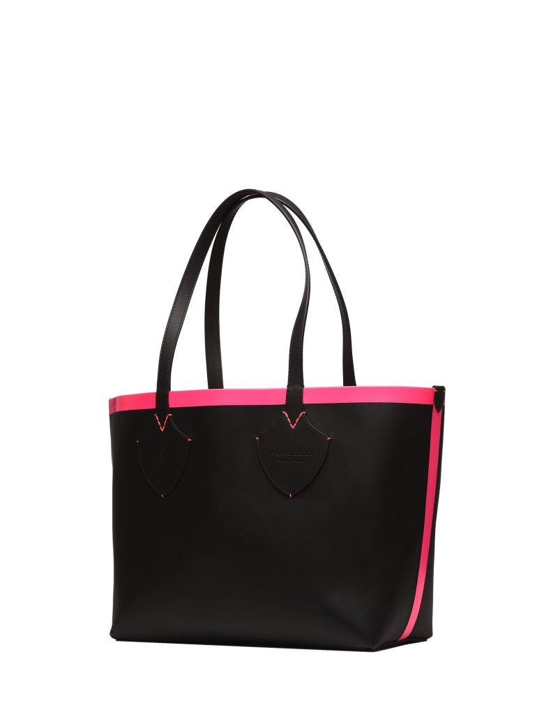 Burberry Reversible Tote In Black And Pink Fluo In Black Neon Pink
