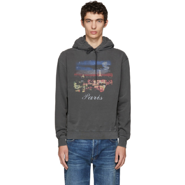 Balenciaga Printed Loopback Cotton-jersey Hoodie - Anthracite In Black
