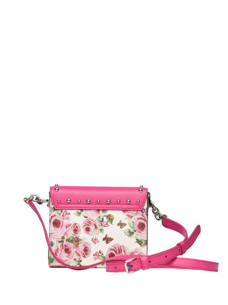 Dolce & Gabbana Crossbody Bag In Pink An White Dauphine Leather In Rosa F.do Bianco