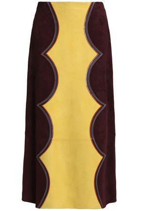 Marni Woman Two-tone Suede Midi Skirt Merlot