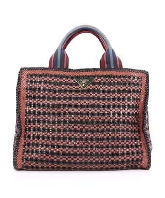 Prada Pre-owned: Convertible Open Tote Madras Woven Leather Medium In Black