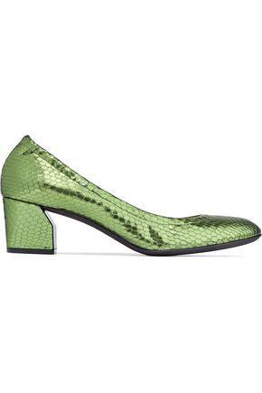 Casadei Metallic Snake-effect Leather Pumps In Leaf Green