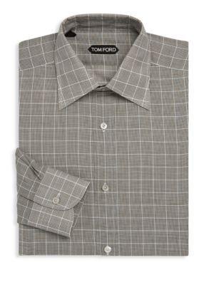 Tom Ford Windowpane Cotton Dress Shirt In Grey Plaid