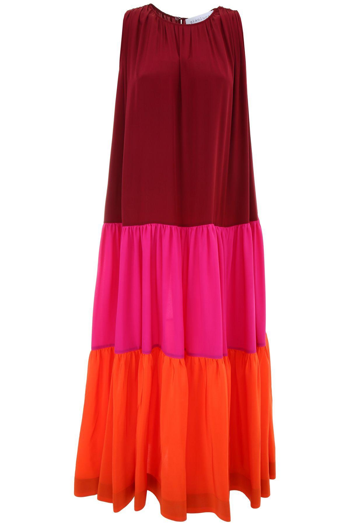 Gianluca Capannolo Long Martha Dress In Burgundy+fuxia+orangerosso